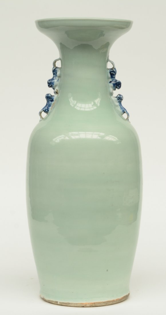 A Chinese celadon ground blue and white vase, decorated - 3