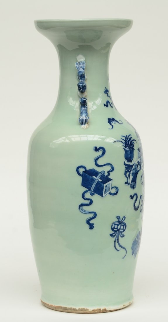 A Chinese celadon ground blue and white vase, decorated - 4