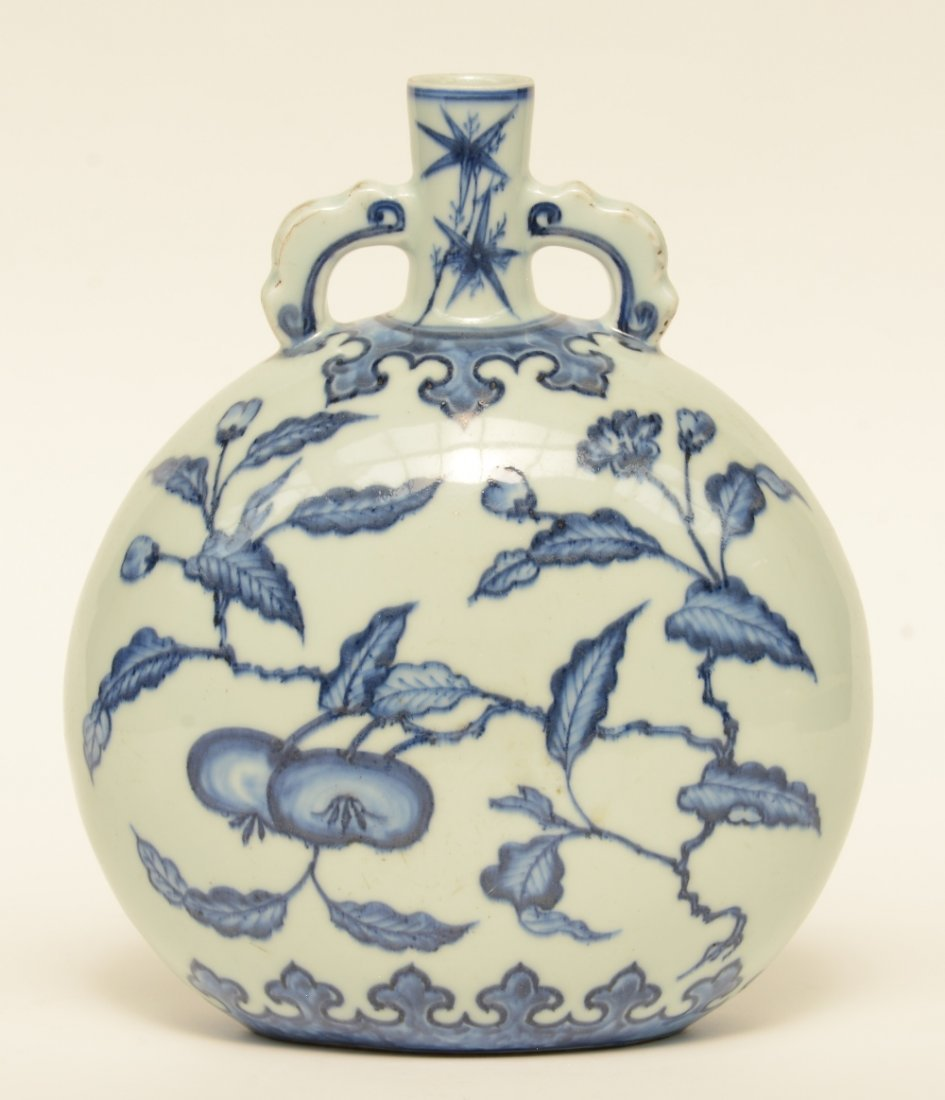 A Chinese blue and white floral decorated 'moonflask',