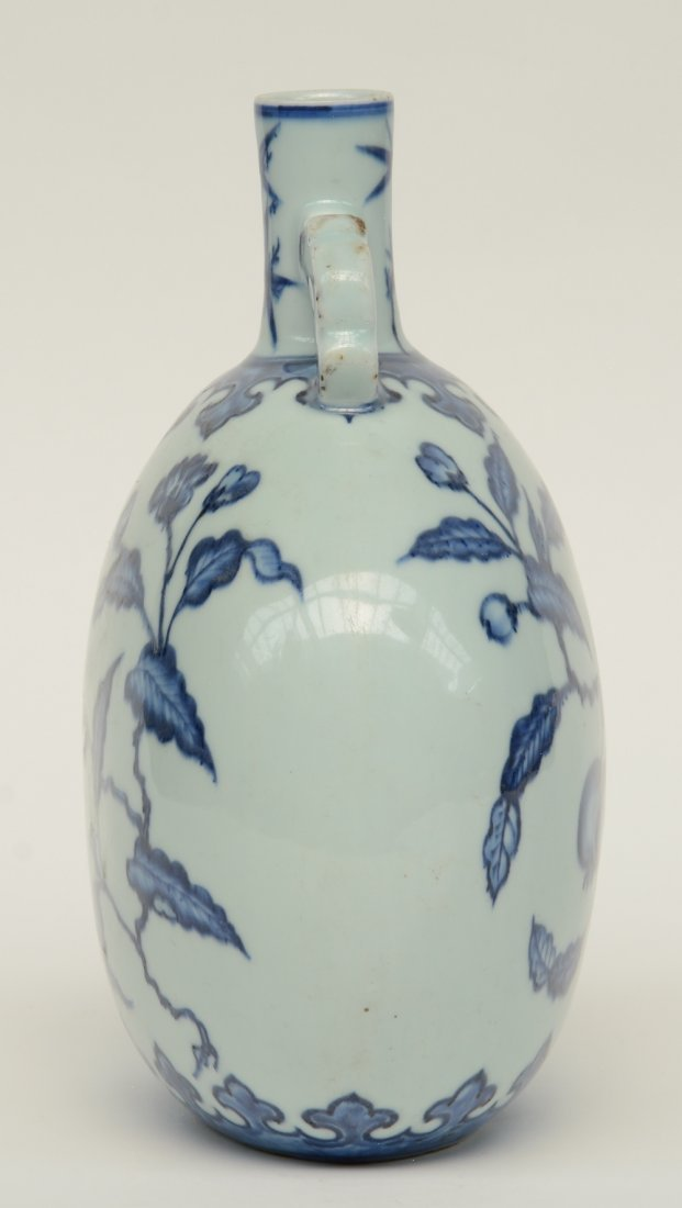 A Chinese blue and white floral decorated 'moonflask', - 2