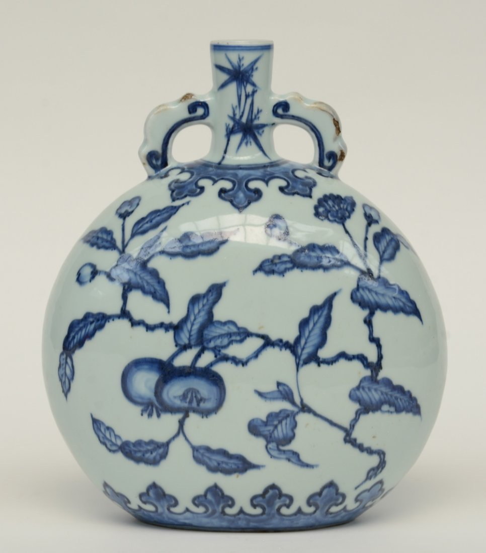 A Chinese blue and white floral decorated 'moonflask', - 3