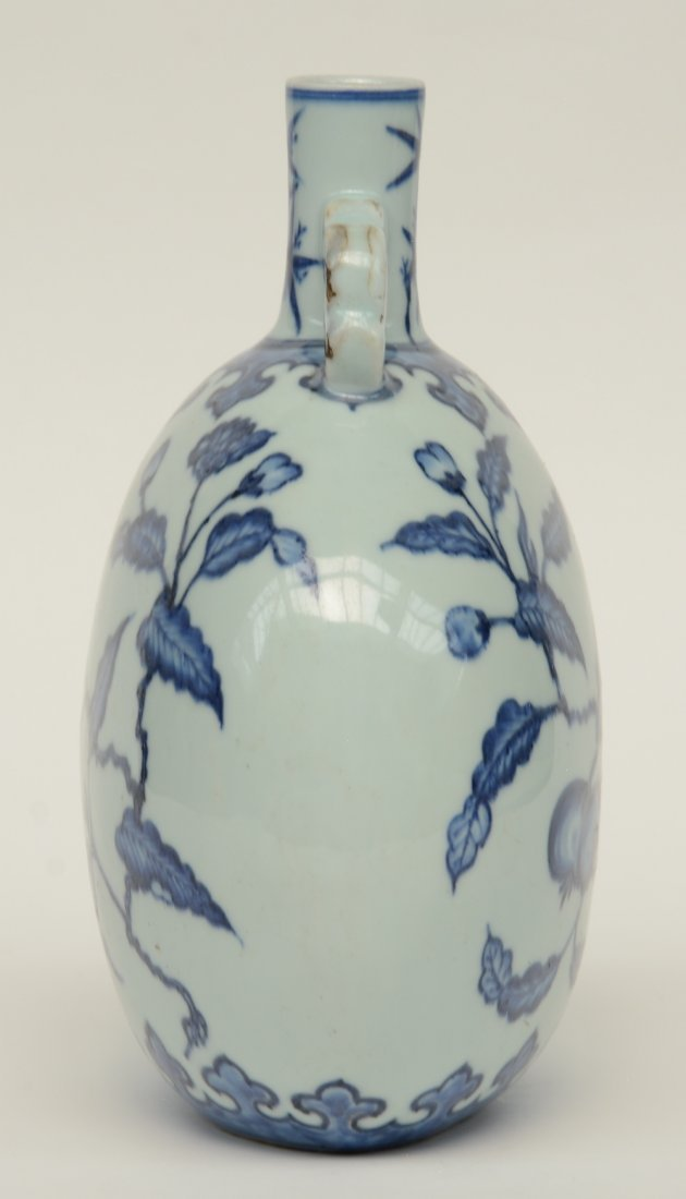 A Chinese blue and white floral decorated 'moonflask', - 4