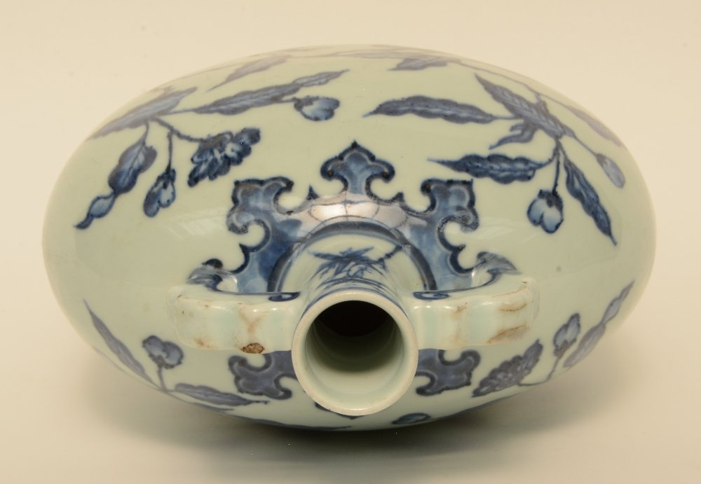 A Chinese blue and white floral decorated 'moonflask', - 5