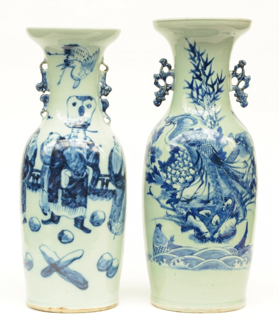 Two Chinese celadon ground blue and white vases, one
