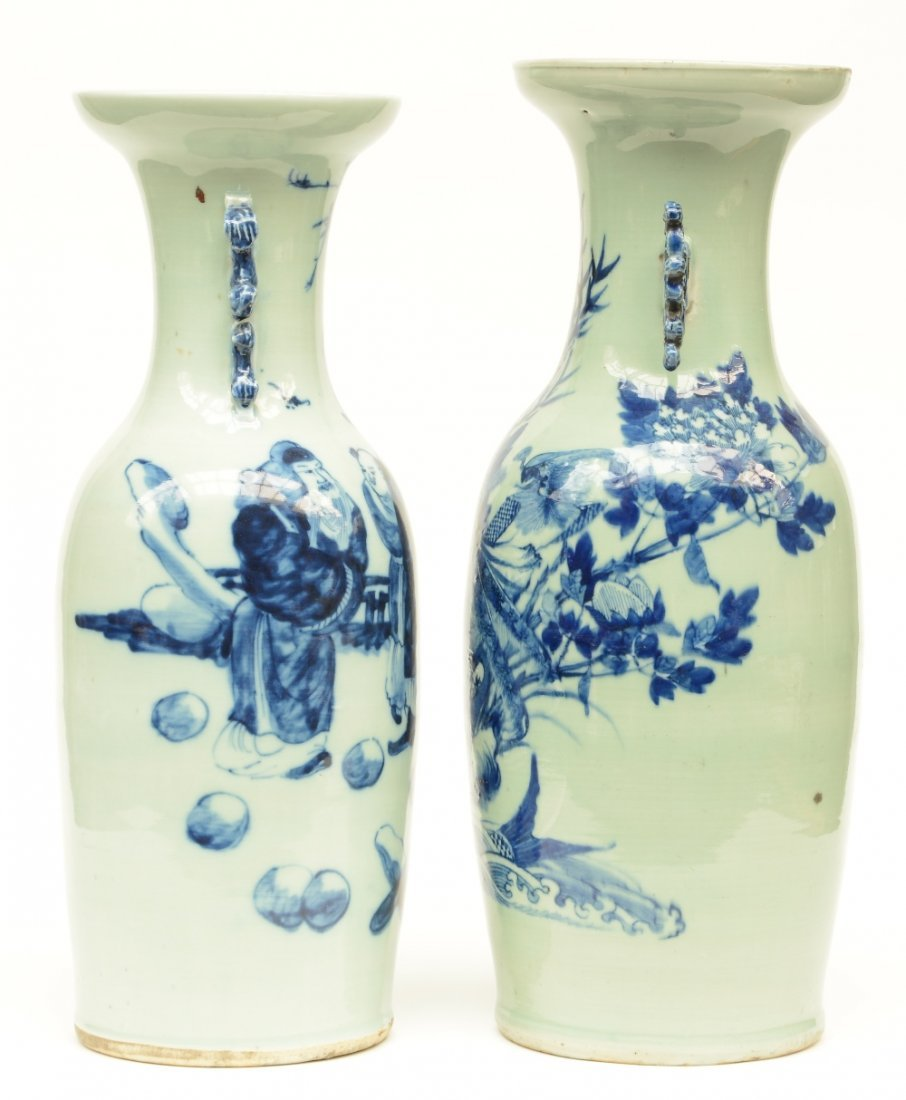 Two Chinese celadon ground blue and white vases, one - 2
