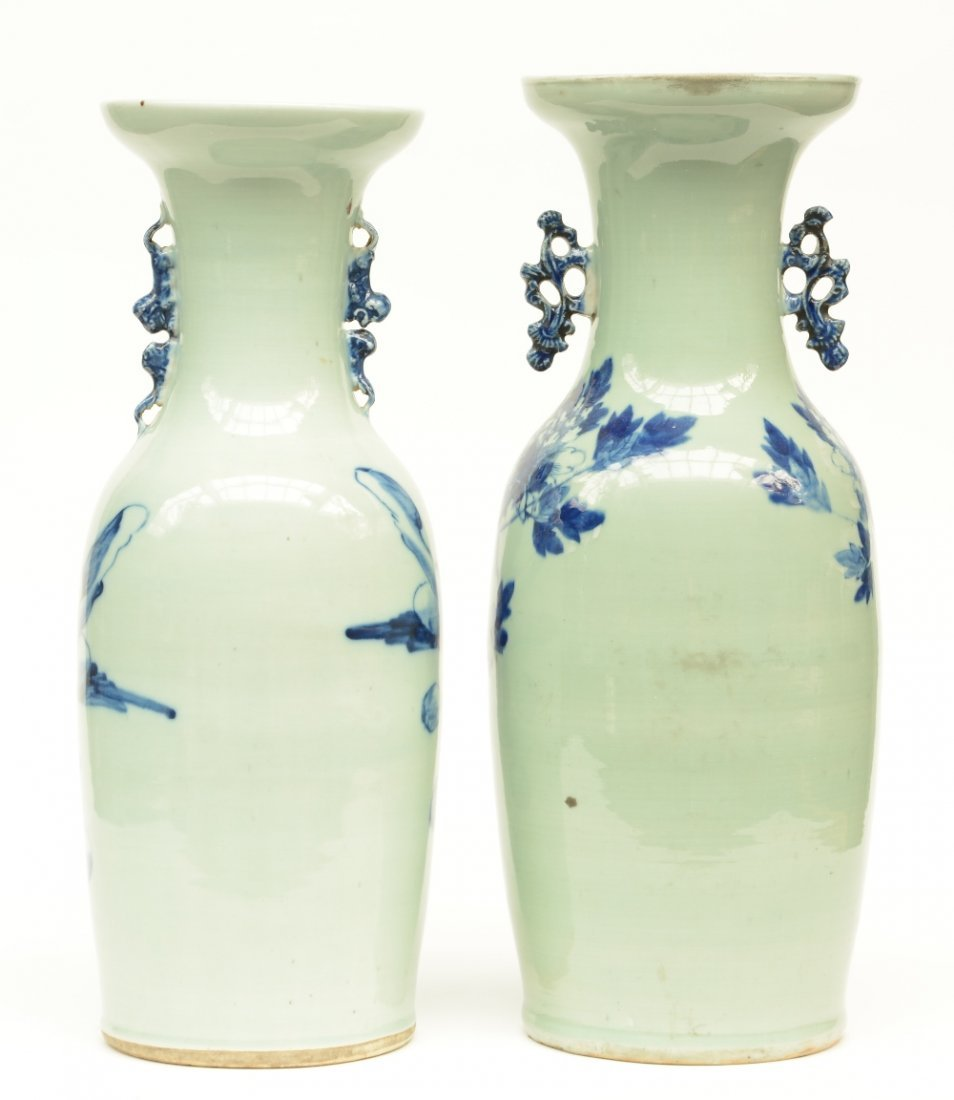 Two Chinese celadon ground blue and white vases, one - 3