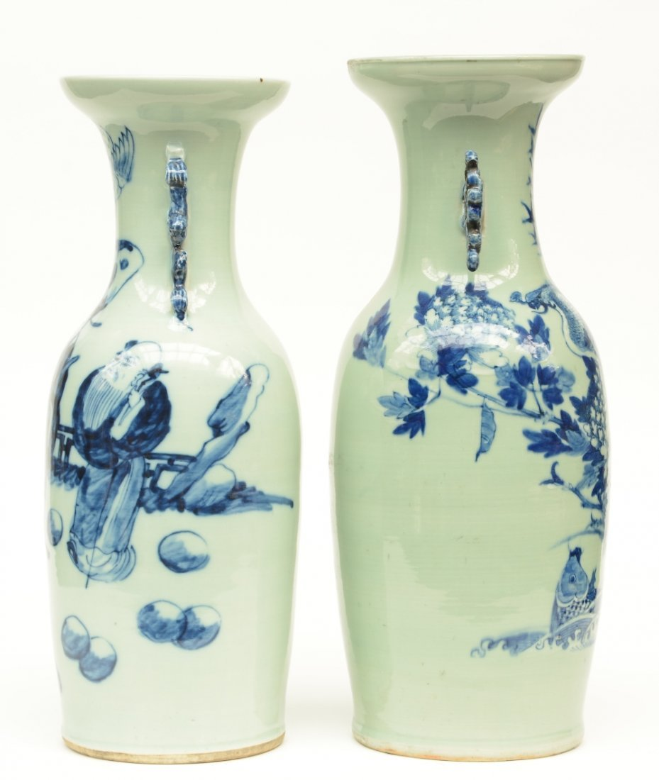 Two Chinese celadon ground blue and white vases, one - 4