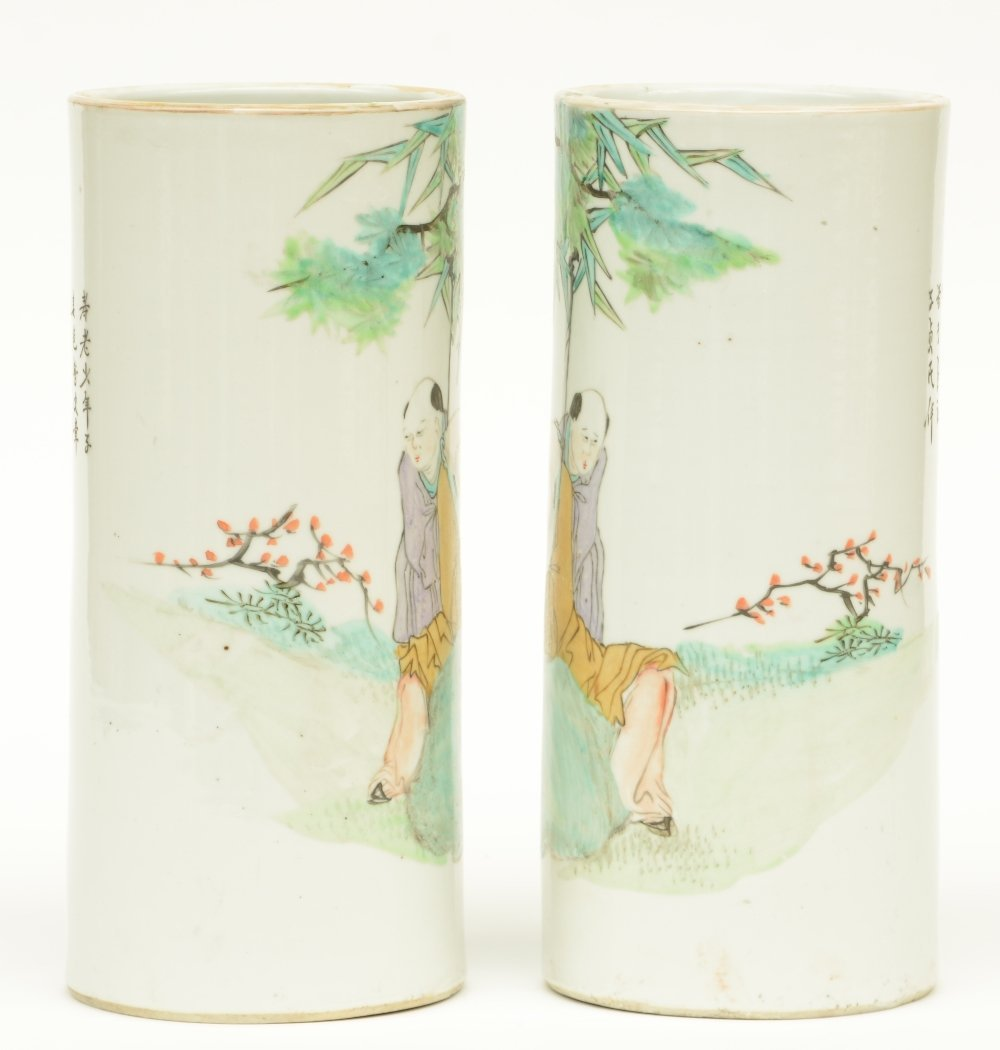 A pair of Chinese cylinder shaped polychrome vases, - 2