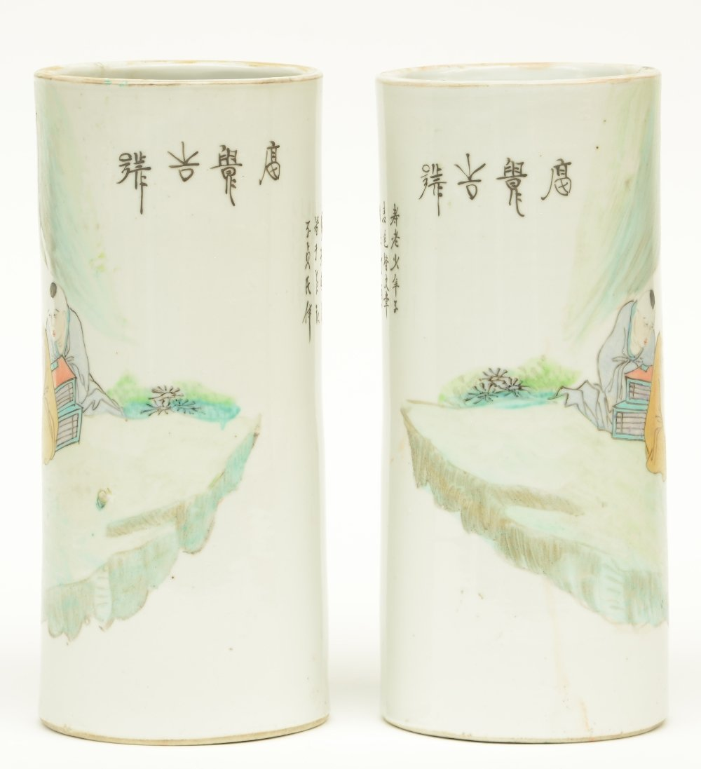 A pair of Chinese cylinder shaped polychrome vases, - 4