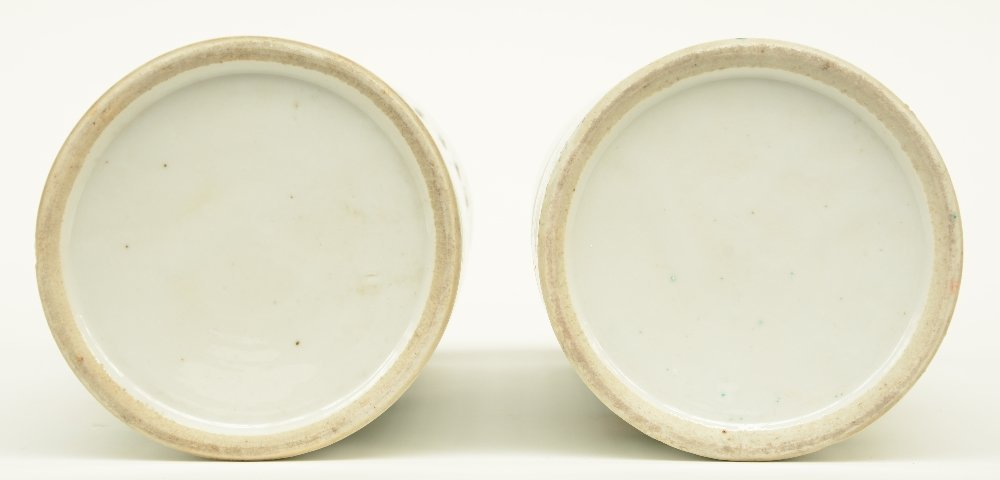 A pair of Chinese cylinder shaped polychrome vases, - 6