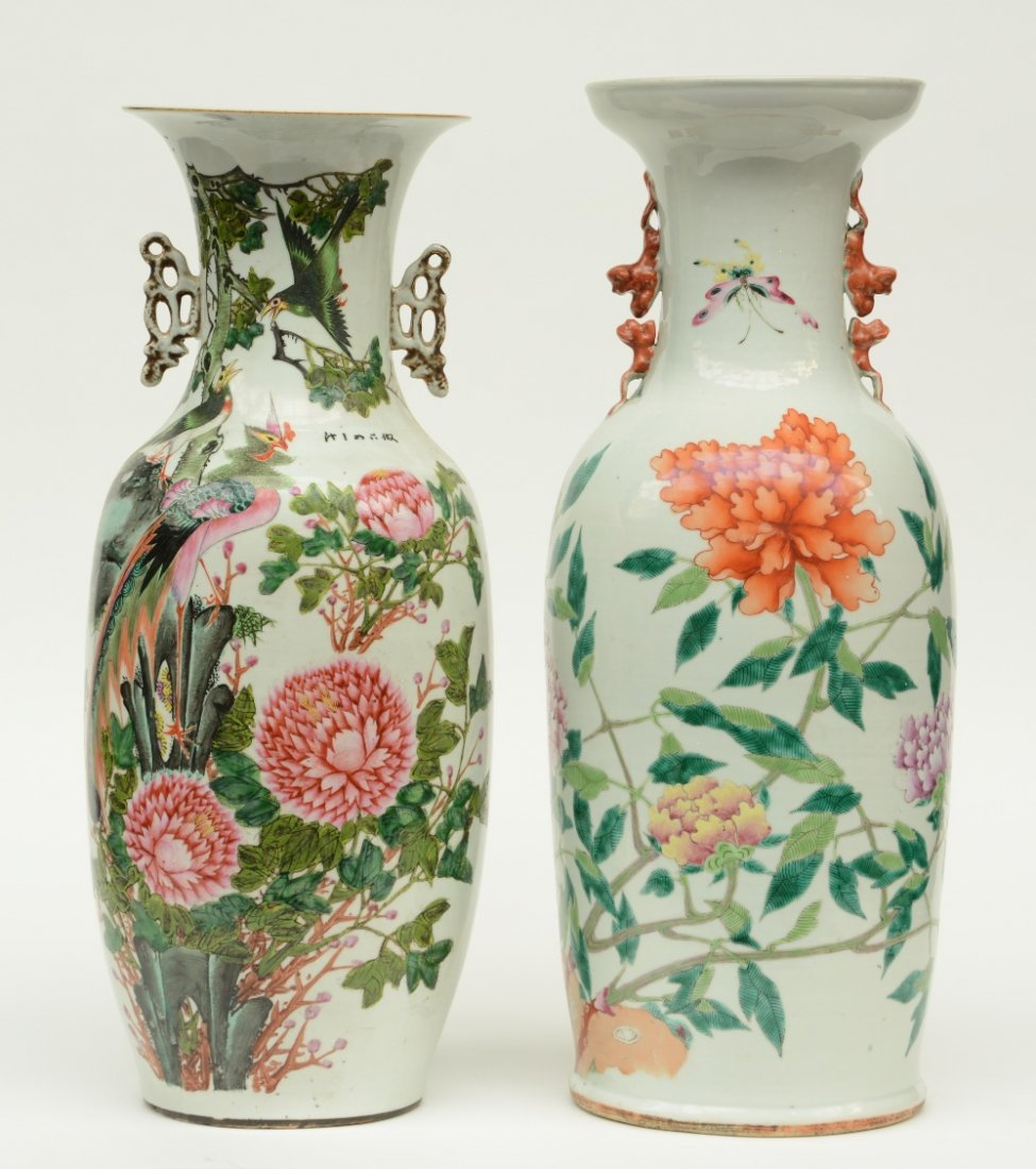 Two Chinese polychrome vases, decorated with flower