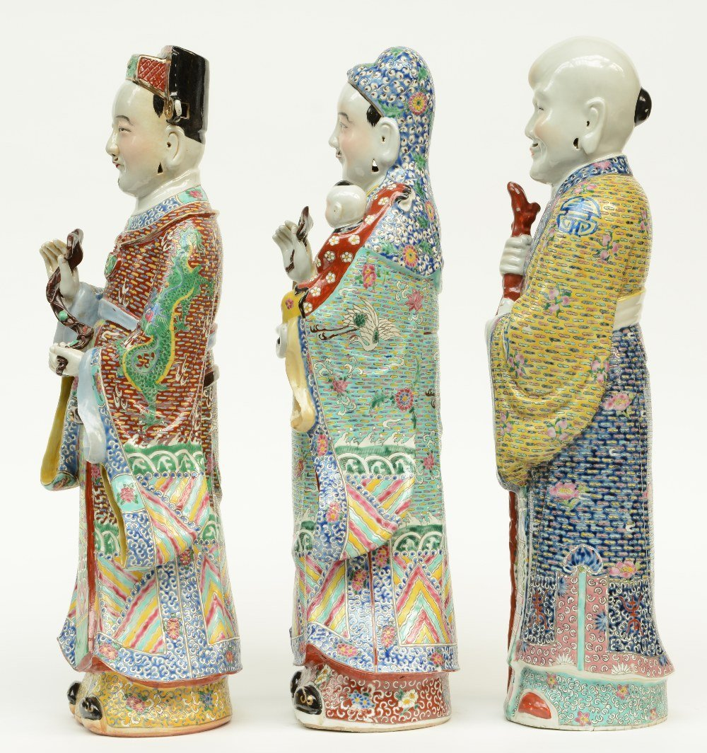 Three Chinese polychrome decorated 'Fu Lou Shou Xing' - 2