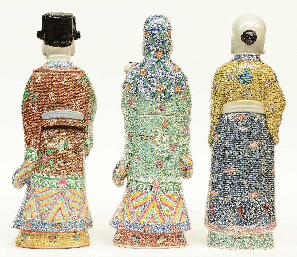 Three Chinese polychrome decorated 'Fu Lou Shou Xing' - 3