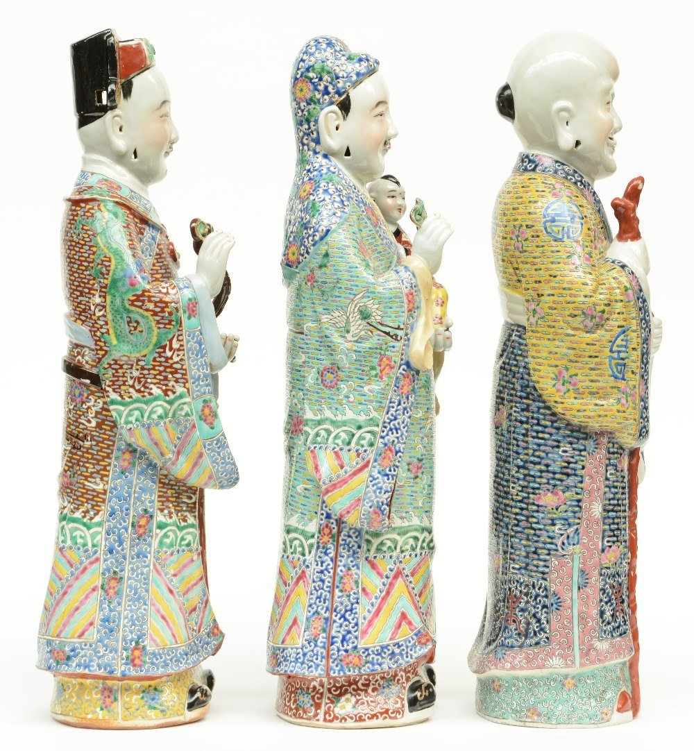 Three Chinese polychrome decorated 'Fu Lou Shou Xing' - 4