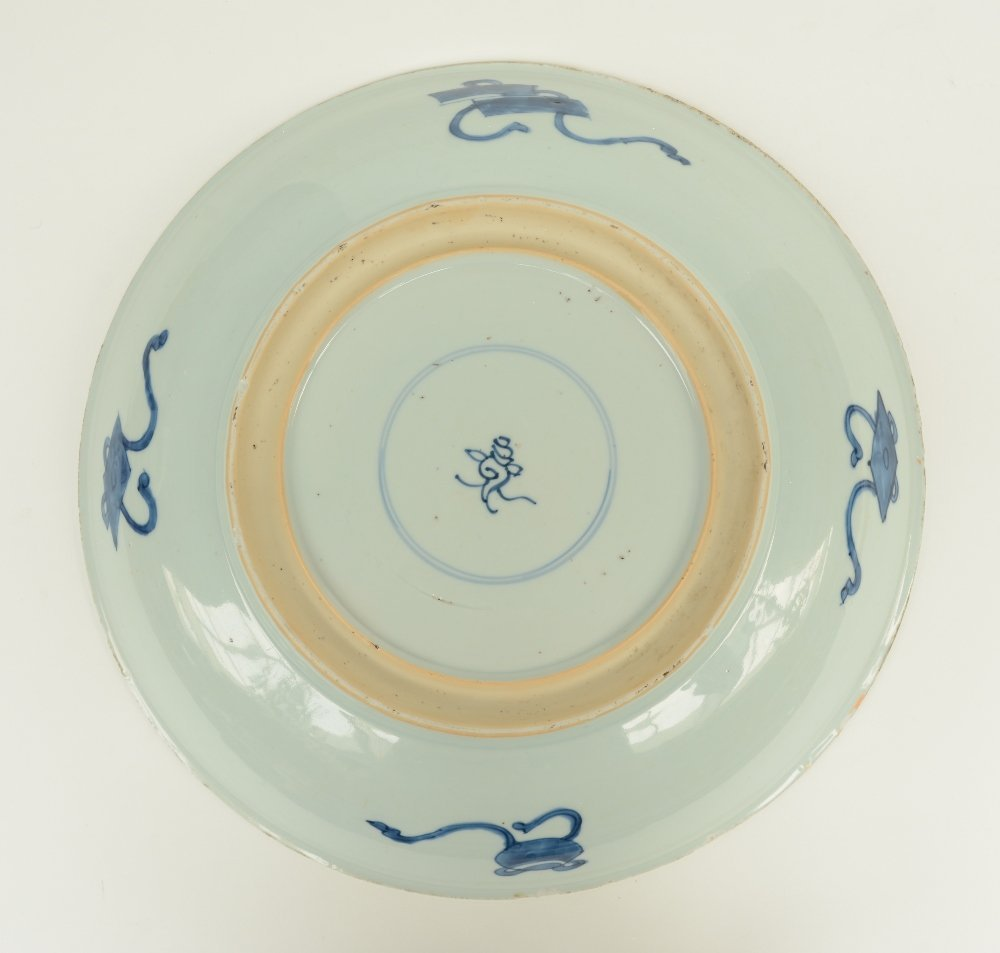 A Chinese blue and white plate decorated with dragons - 2