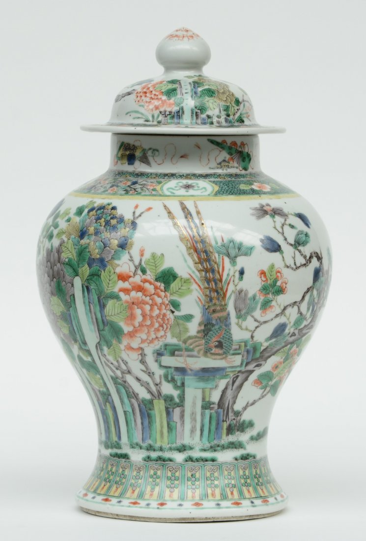A Chinese famille verte vase and cover, overall