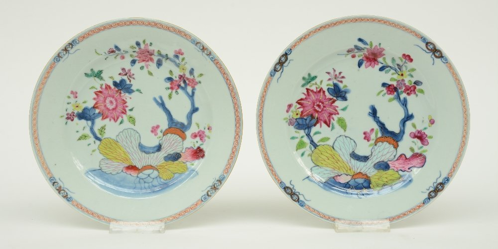 Two Chinese famille rose dishes, decorated with flower