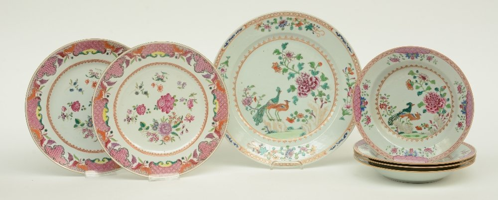 Seven Chinese famille rose plates and dishes,
