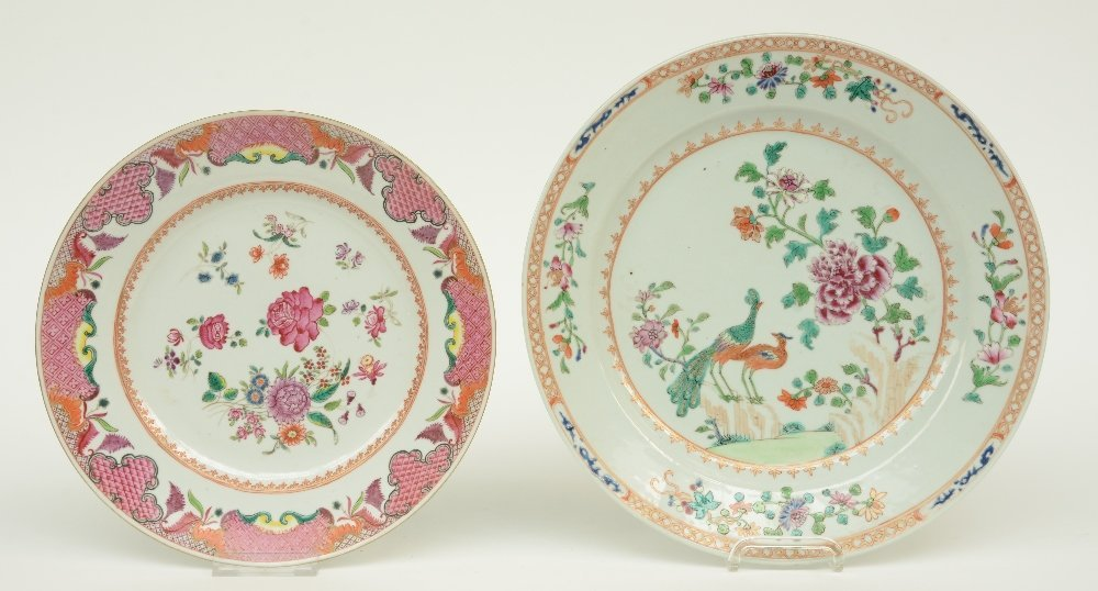 Seven Chinese famille rose plates and dishes, - 2