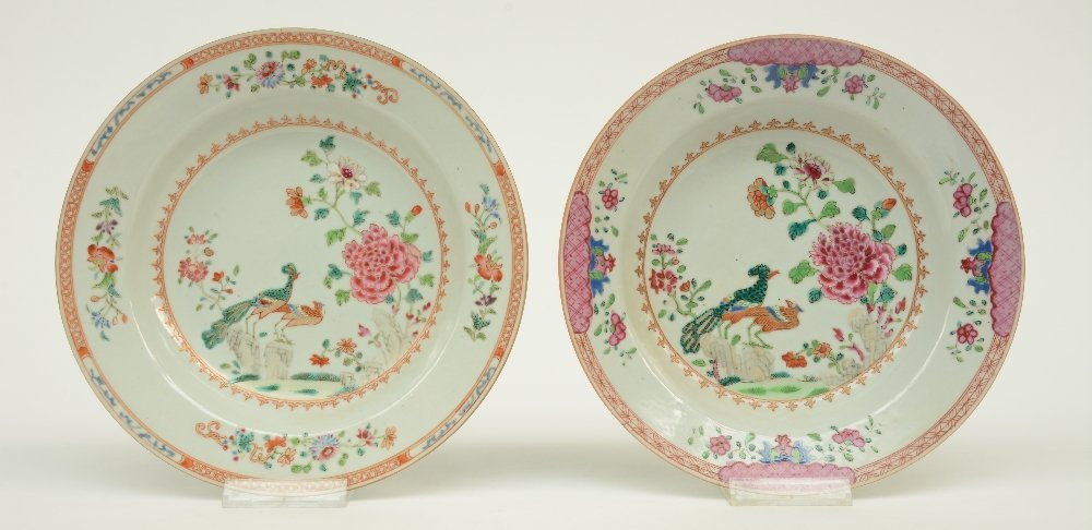 Seven Chinese famille rose plates and dishes, - 4