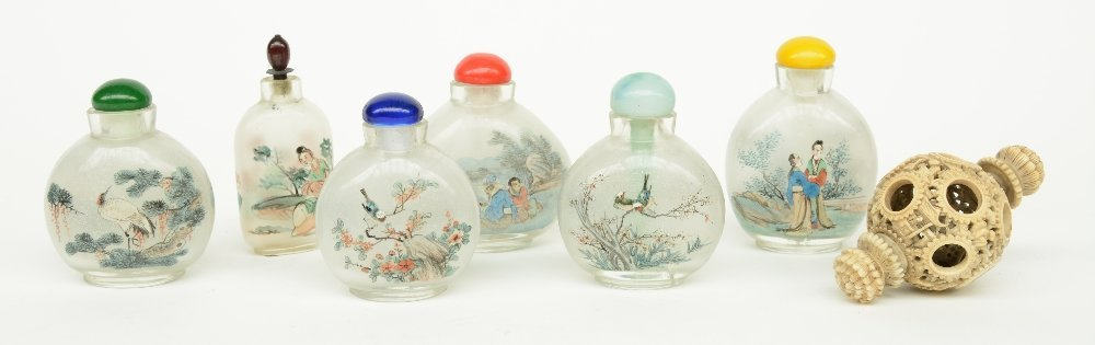 Lot of six Chinese inside-painted glass snuff bottles,