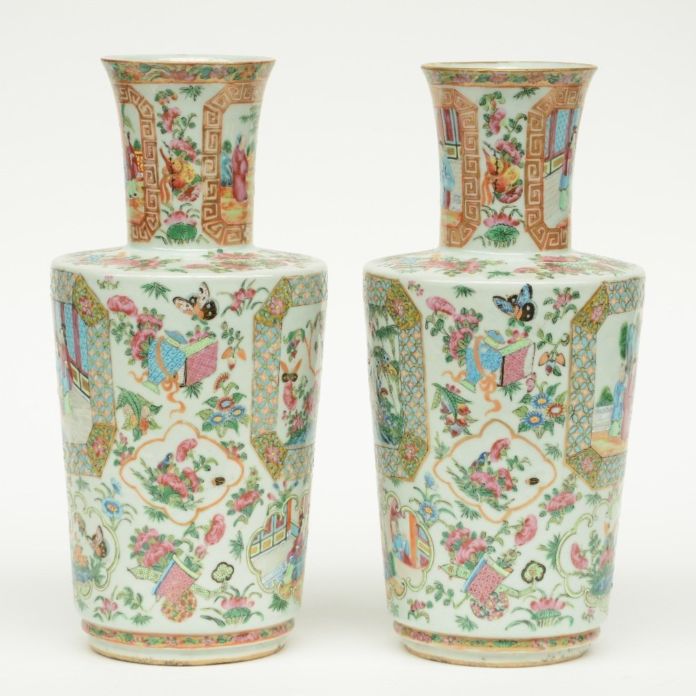 A pair of Chinese Canton famille rose vase, the panels - 2
