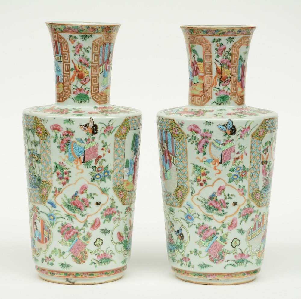 A pair of Chinese Canton famille rose vase, the panels - 4