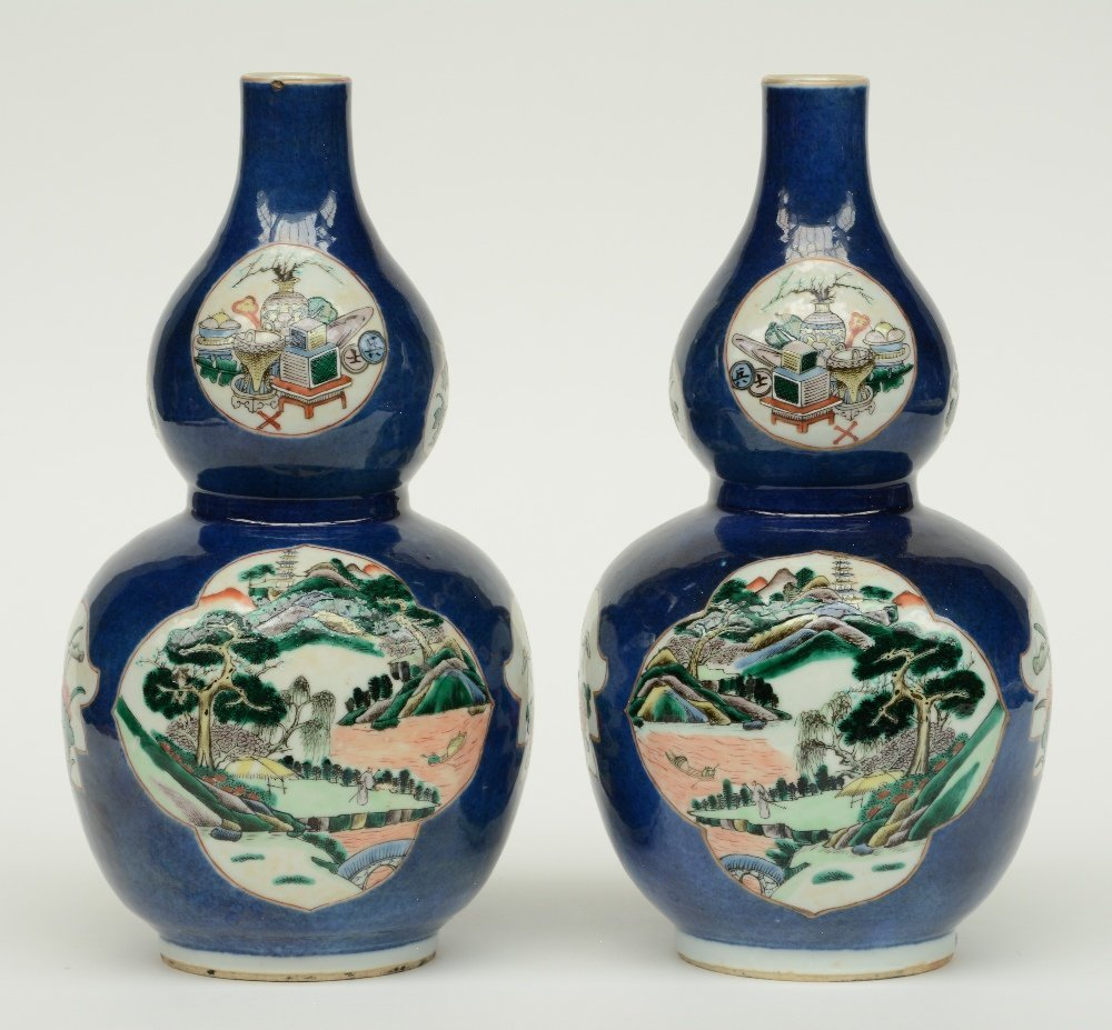 A pair of Chinese blue poudré double-gourd vases, the - 3