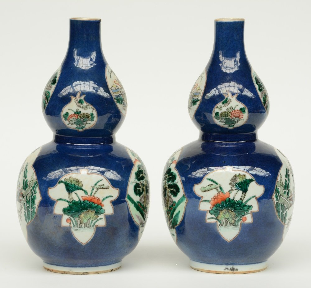 A pair of Chinese blue poudré double-gourd vases, the - 4