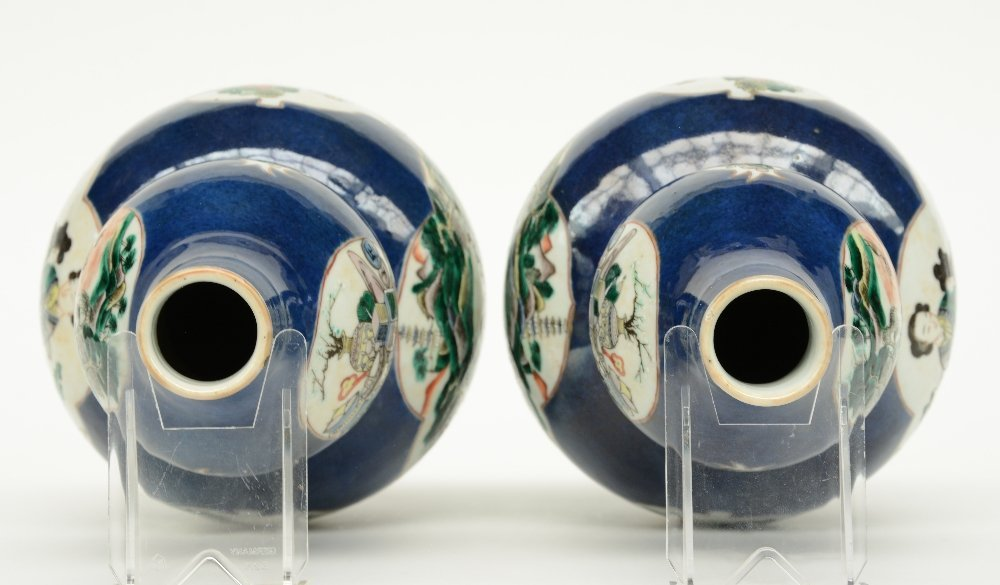 A pair of Chinese blue poudré double-gourd vases, the - 5