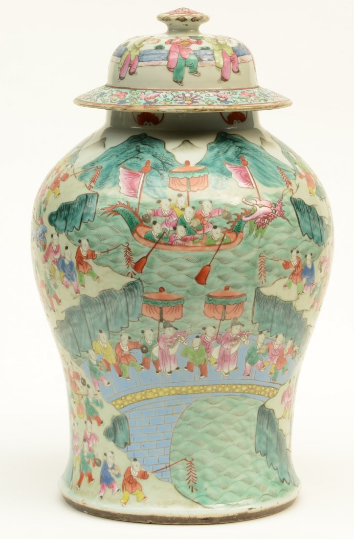 A Chinese famille rose vase with cover, decorated with
