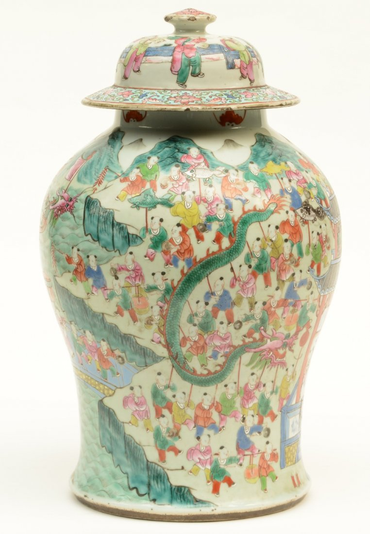 A Chinese famille rose vase with cover, decorated with - 2