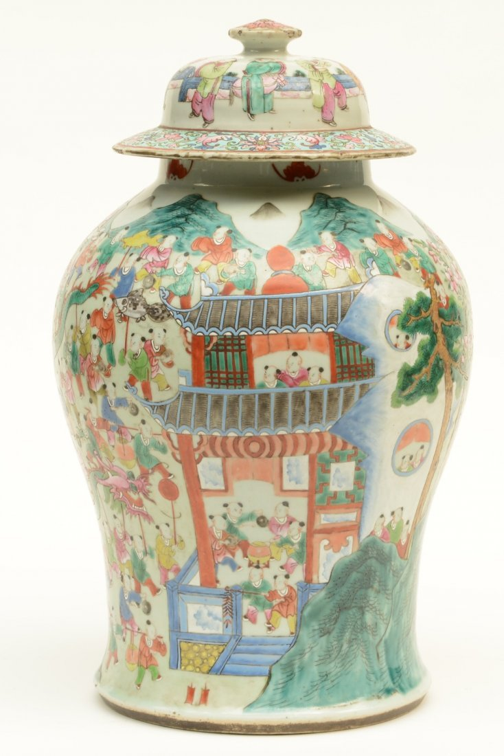 A Chinese famille rose vase with cover, decorated with - 3