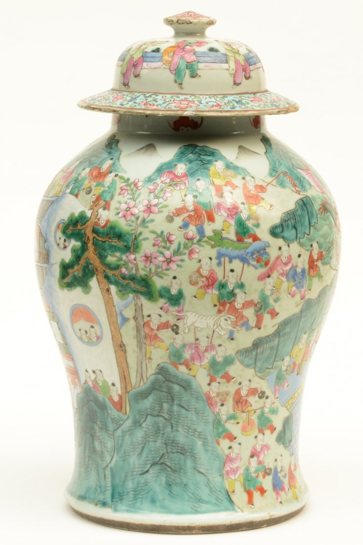 A Chinese famille rose vase with cover, decorated with - 4