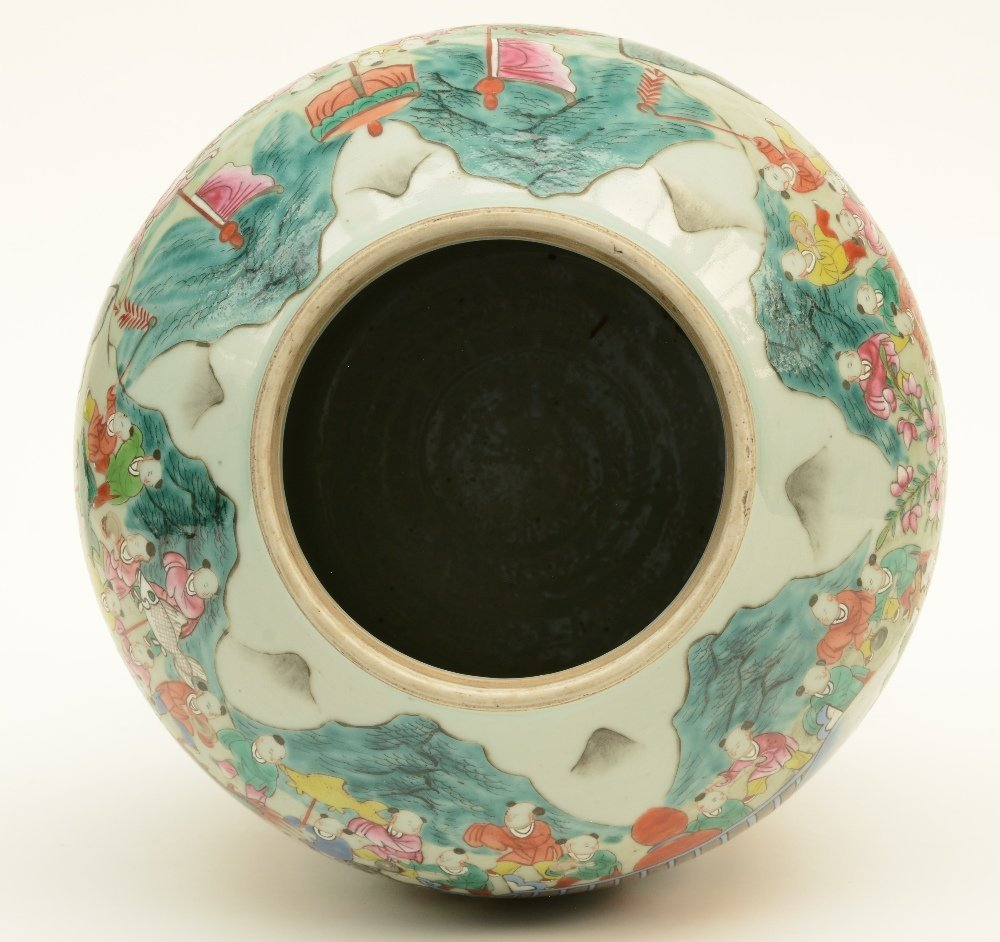 A Chinese famille rose vase with cover, decorated with - 5