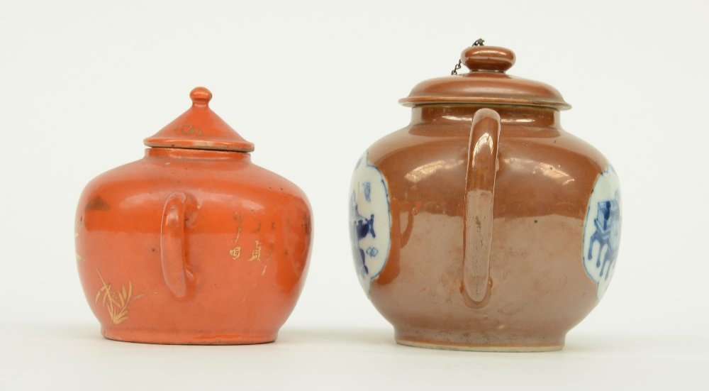 Two Chinese teapots and covers, one teapot café au - 3
