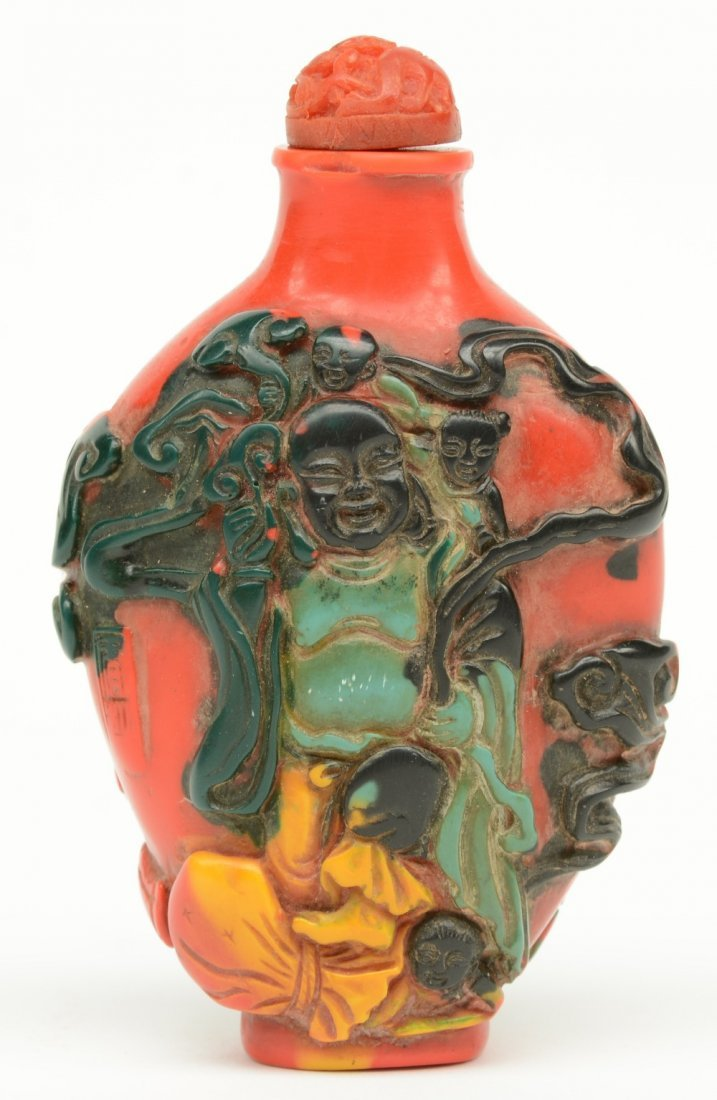 A Chinese snuff bottle, overall relief moulded with - 4