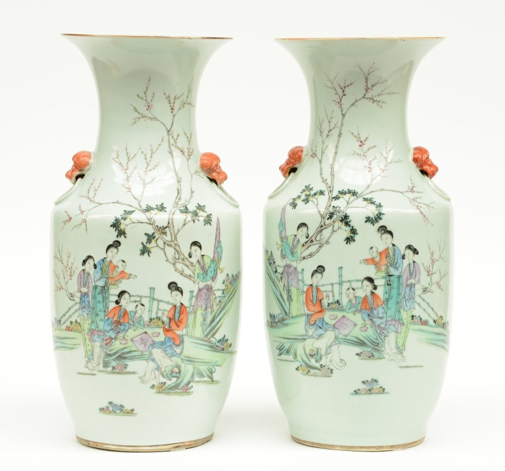 A pair of Chinese polychroom vases, decorated with