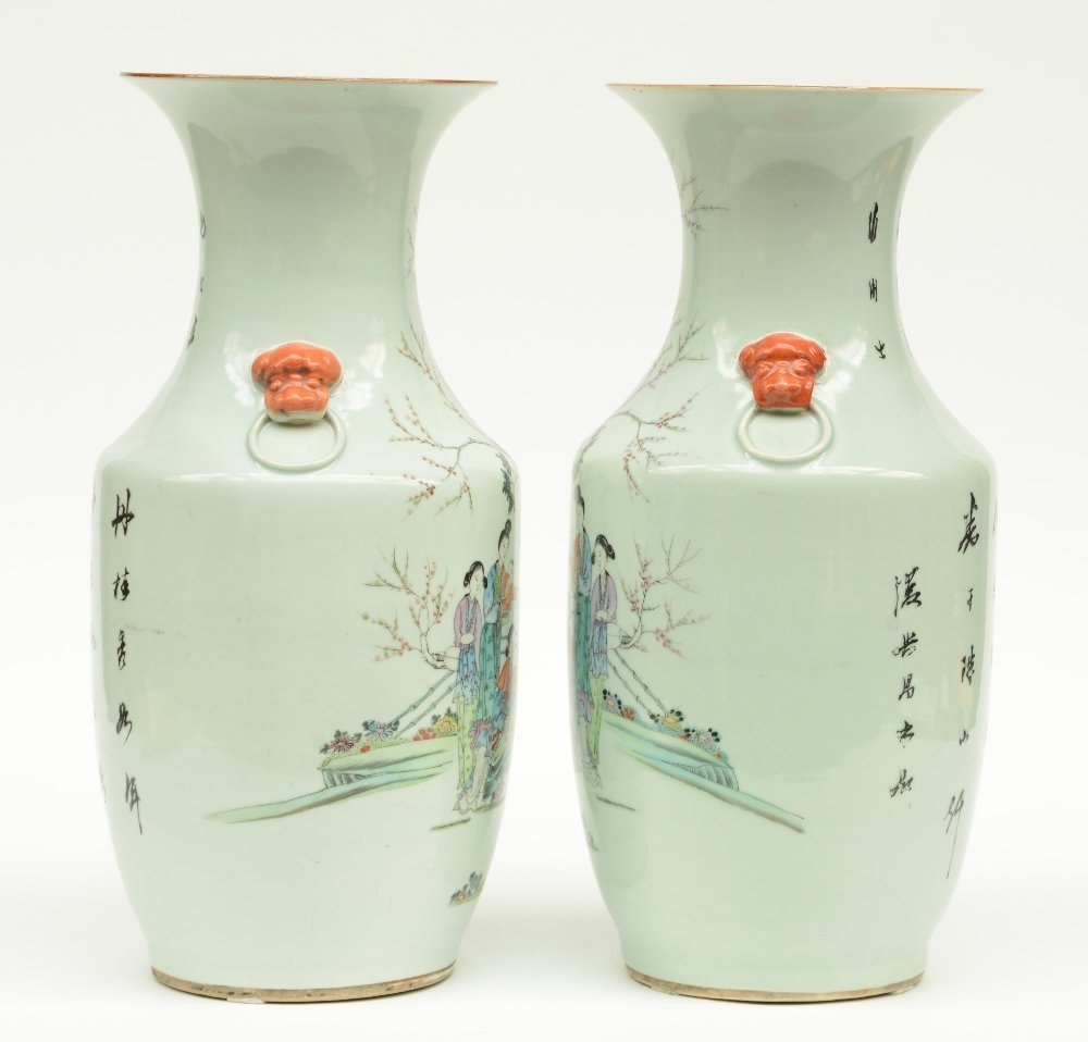 A pair of Chinese polychroom vases, decorated with - 2
