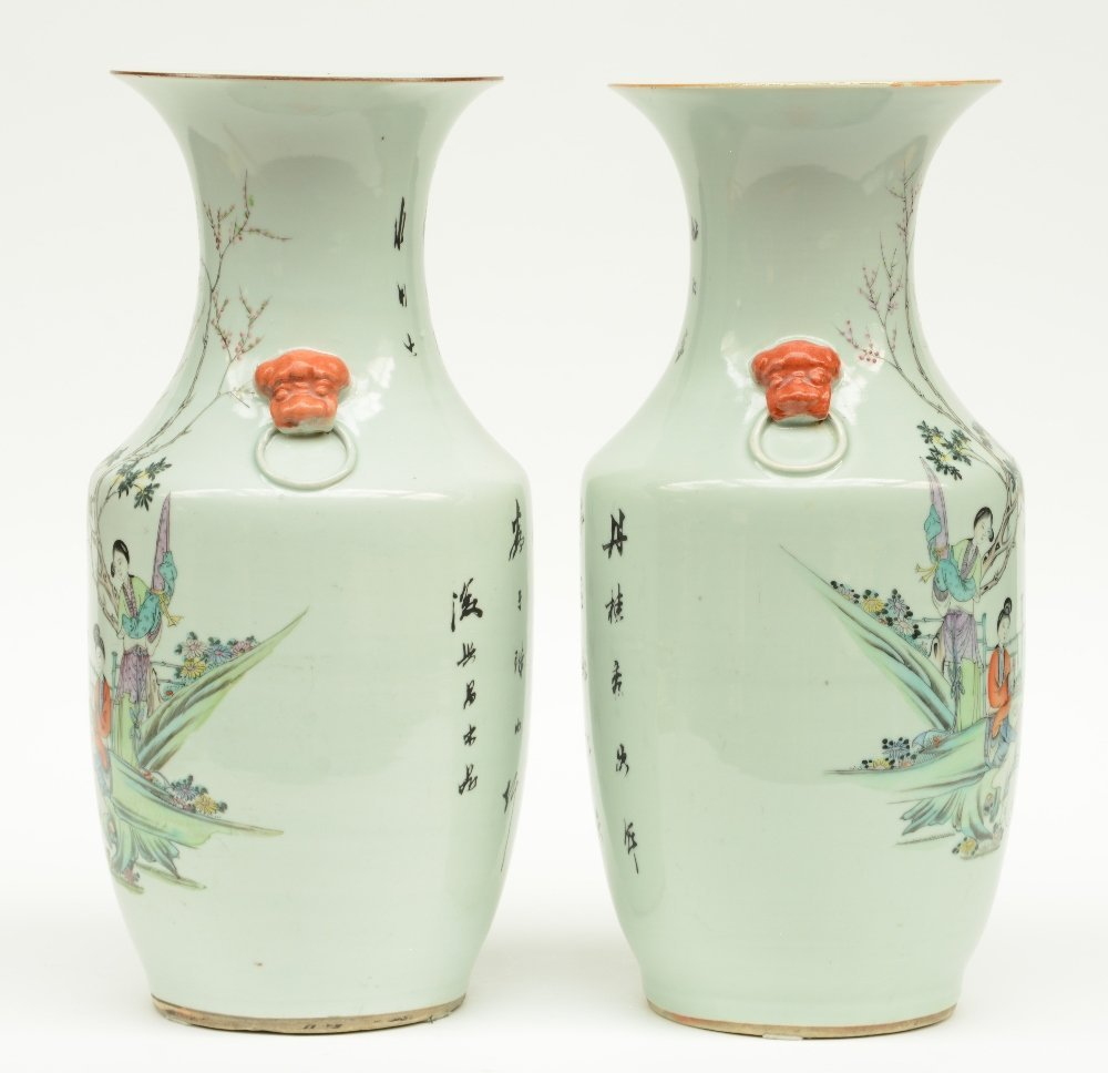 A pair of Chinese polychroom vases, decorated with - 4