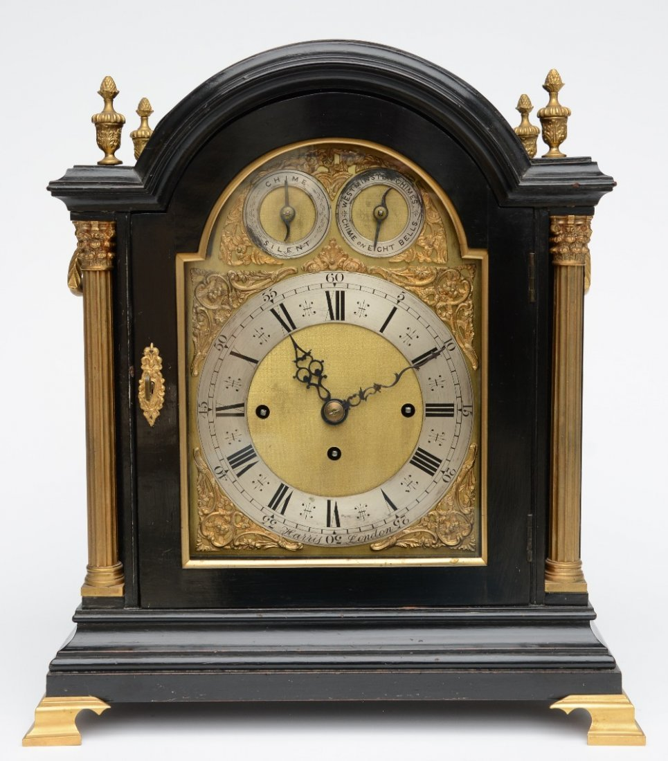 A Neoclassical Westminster tabel clock, ebonised wood