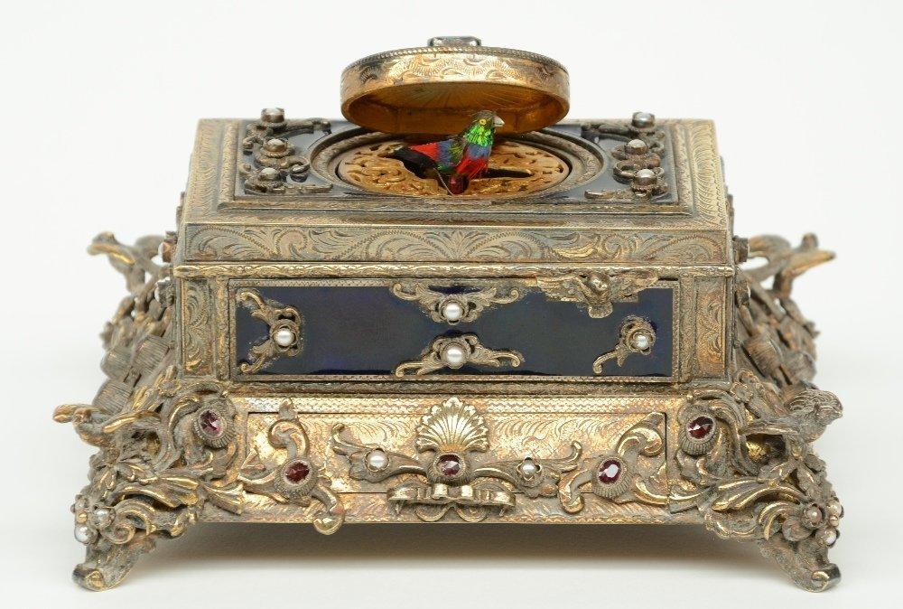 An exceptional gilt silver music box, partially cobalt