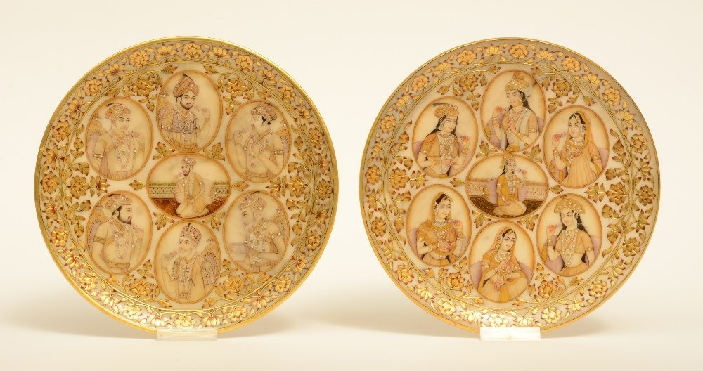 A rare pair of Moghul alabaster plaques, decorated with