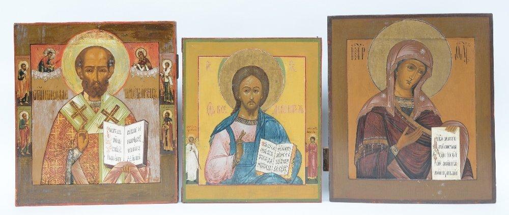 Three 19thC Eastern European icons, St. Nikolaï -