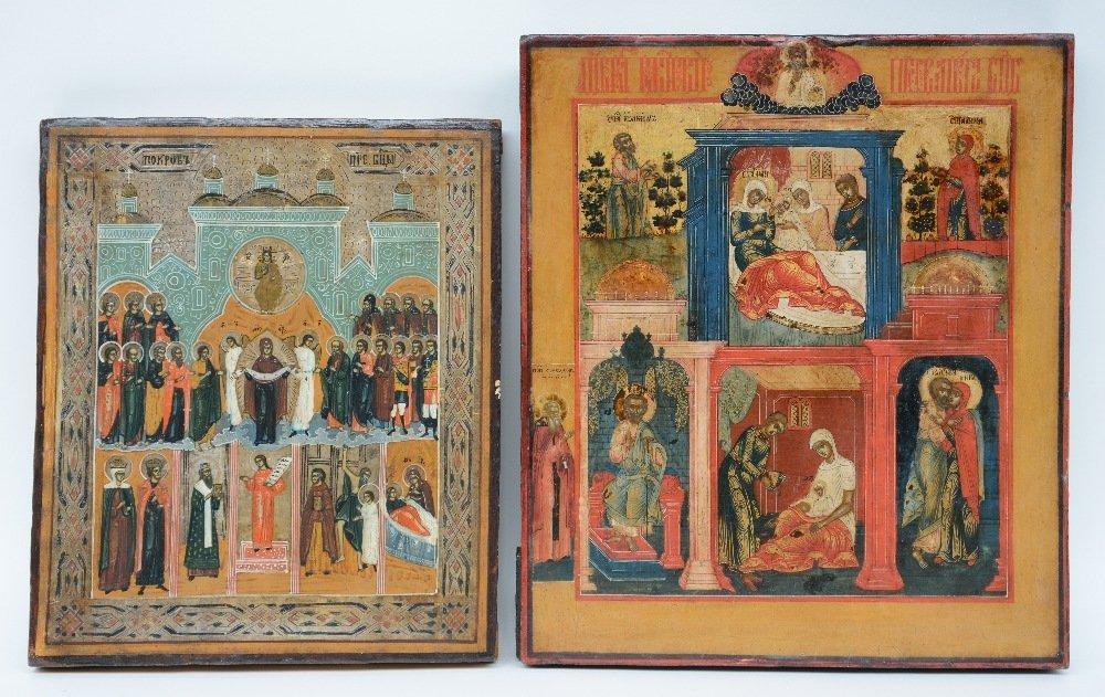 Two 19thC Eastern European icons, the Tale of Joachim