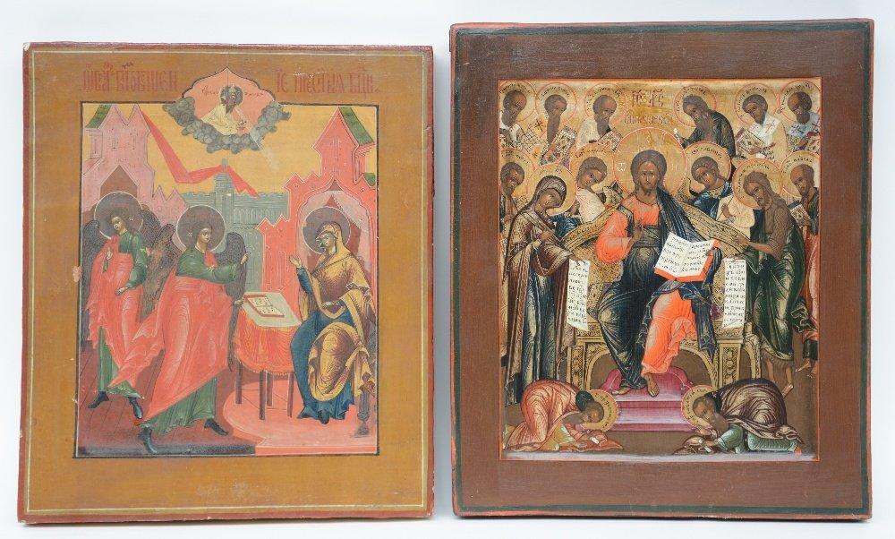 Two 19thC Eastern European icons,Deësis -