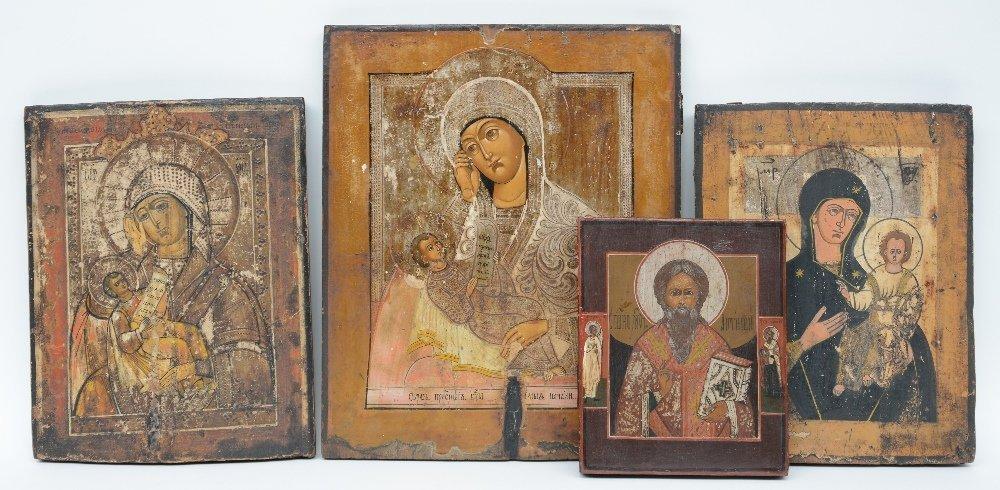 Four various Eastern European icons, 19thC and 20thC,