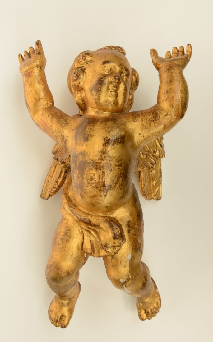 A pair of gilt limewood sculpted angels, Low Countries, - 2