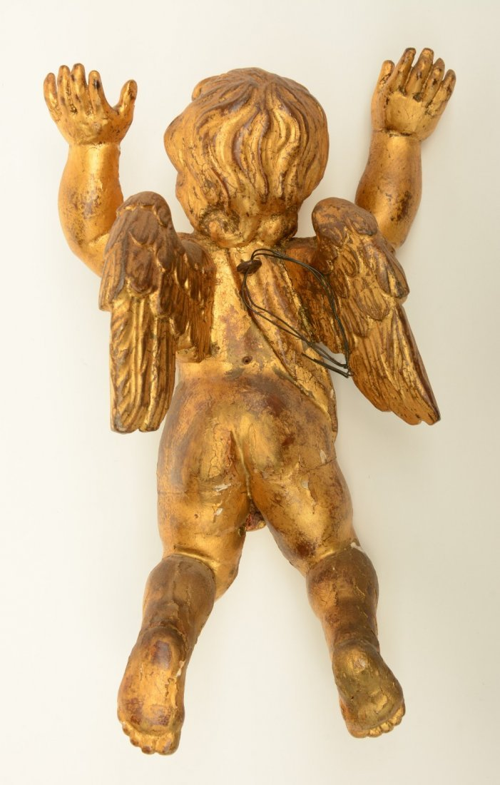A pair of gilt limewood sculpted angels, Low Countries, - 3