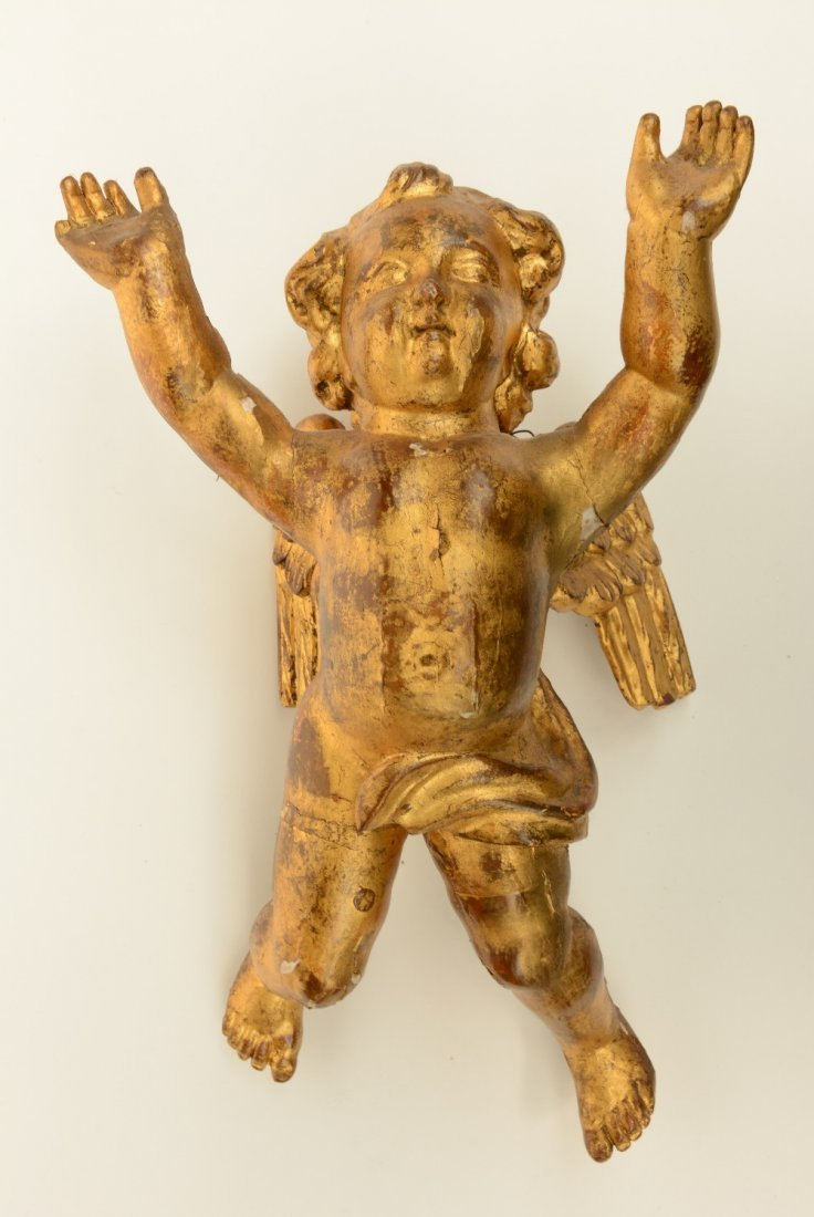 A pair of gilt limewood sculpted angels, Low Countries, - 4